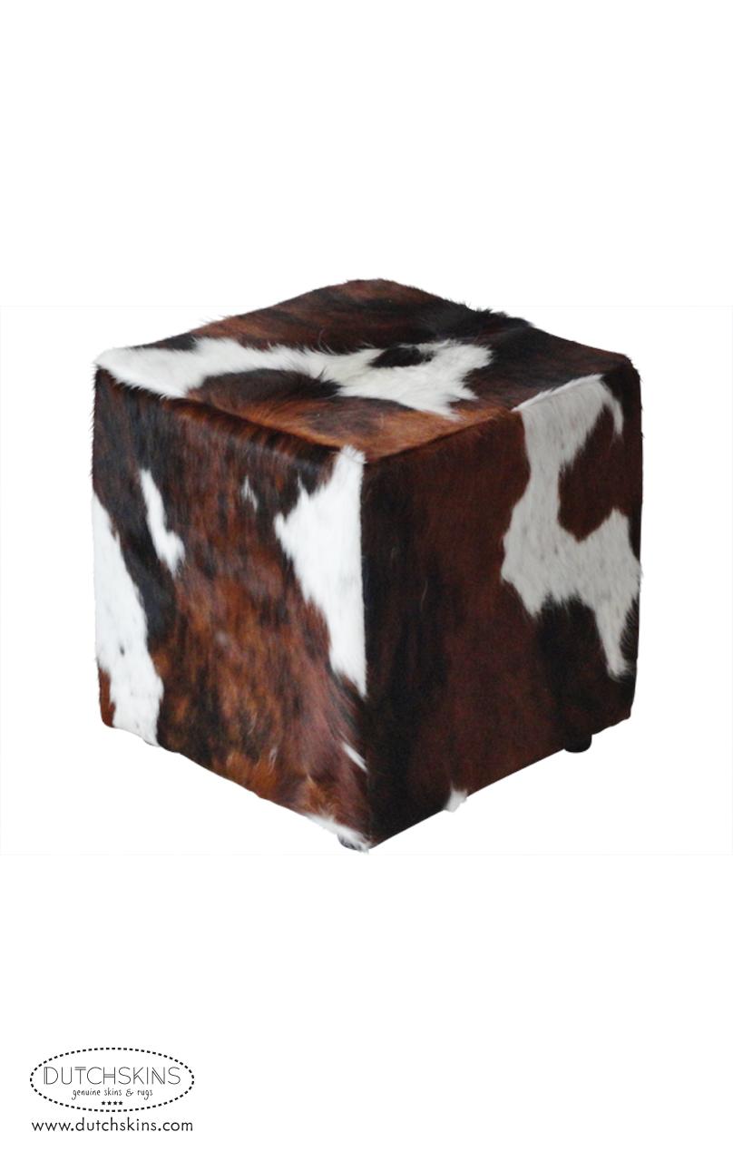 Poef koeienvel driekleur