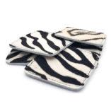 Onderzetters koeienhuid zebraprint vierkant