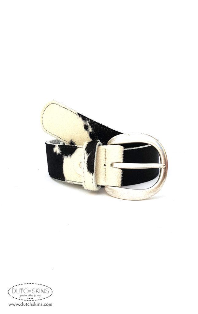 Riem koeienhuid zwart wit 5 cm breed
