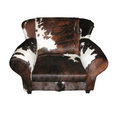 Loveseat made of cowhide available in various colors