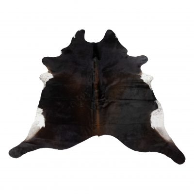 Dark brown cowhide with white