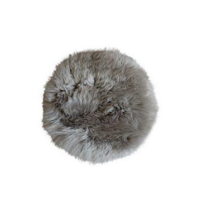 Stoelzitting pad schapenvacht rond platinum grijs