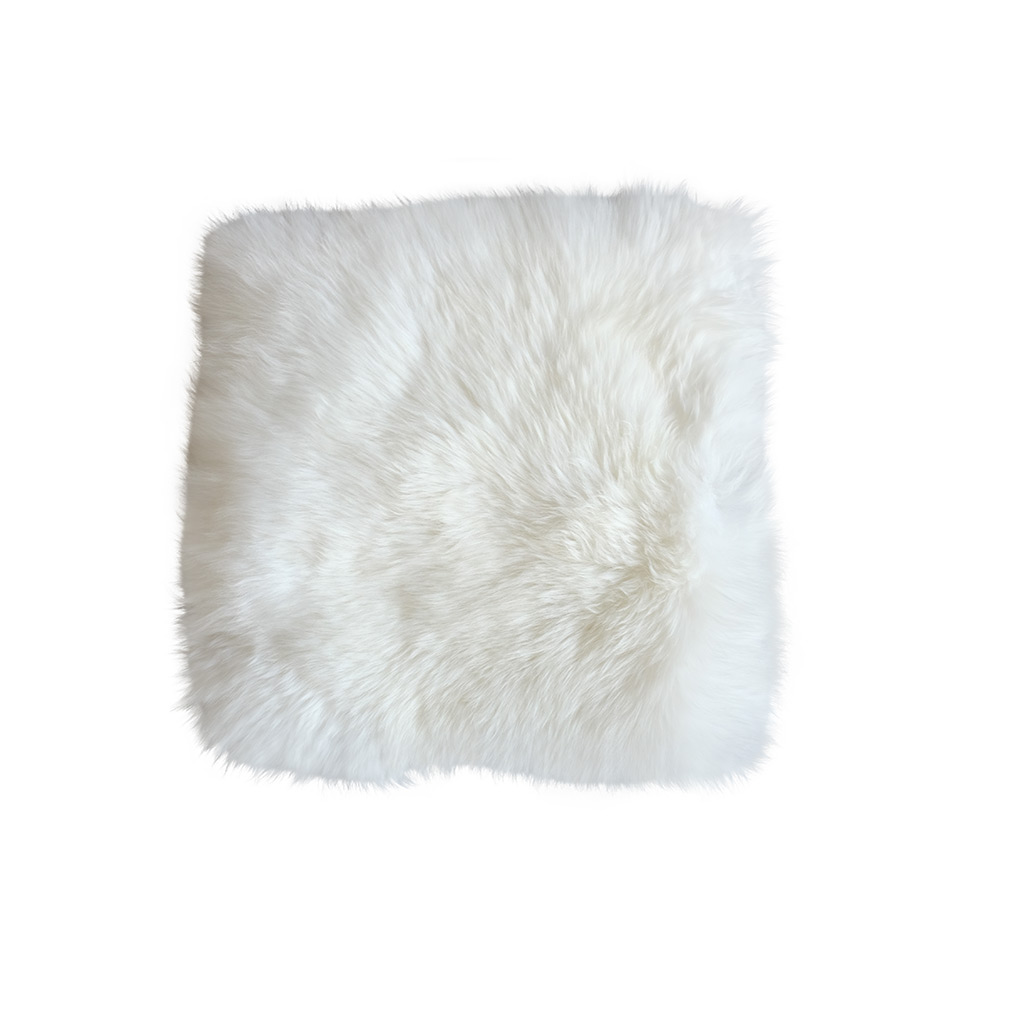 Stoelpad schapenvacht vierkant wit