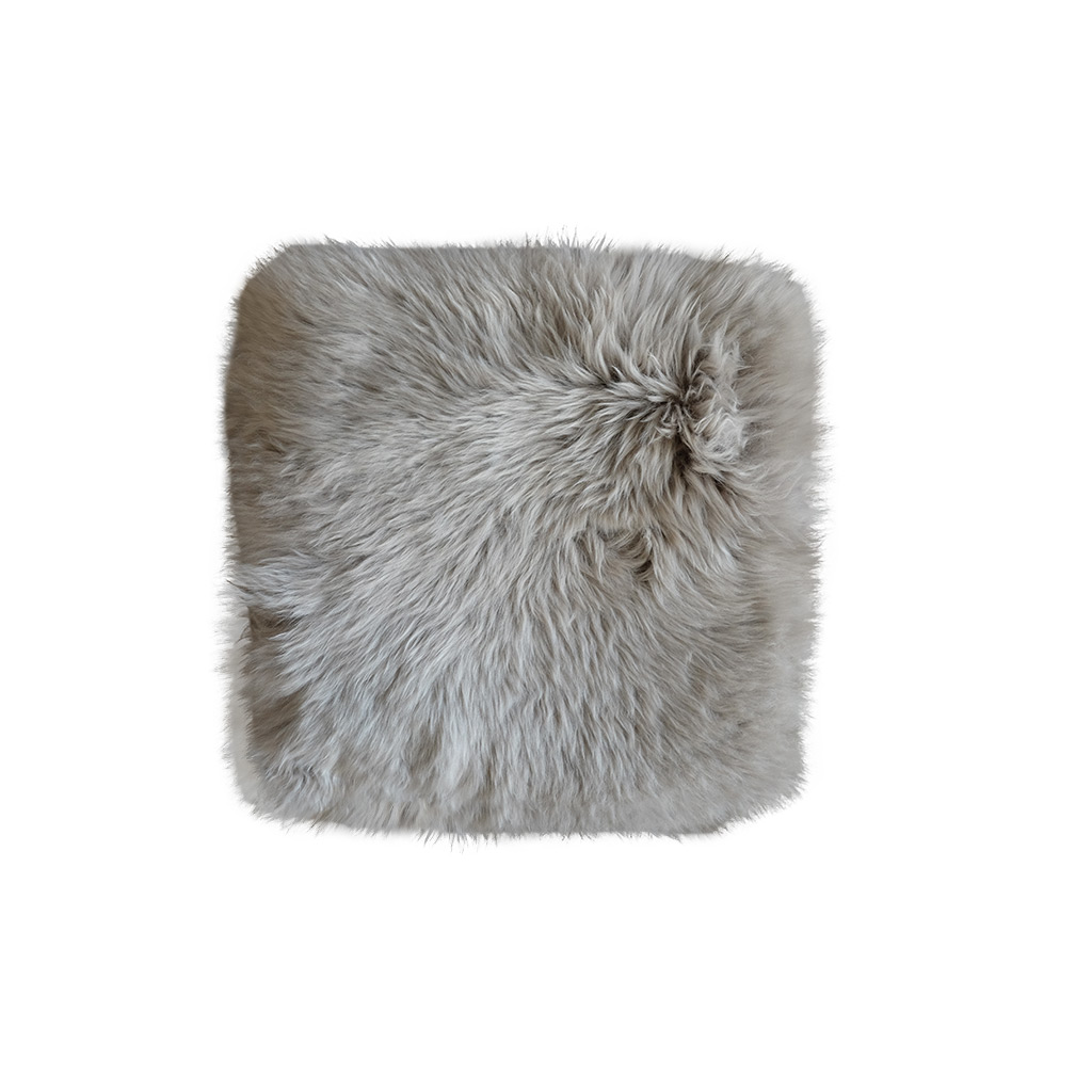 Stoelpad schapenvacht vierkant platinum grijs