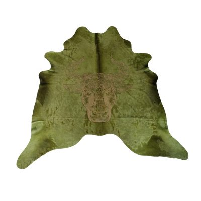 Green cowhide with lasered bull's head