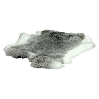 Konijnenvacht grijs wit