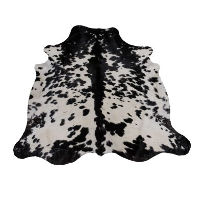 large black and white cow rug