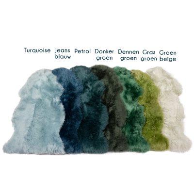 Groen en blauw tinten schapenvachten