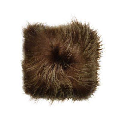 Kussen IJslandse schapenvacht bruin